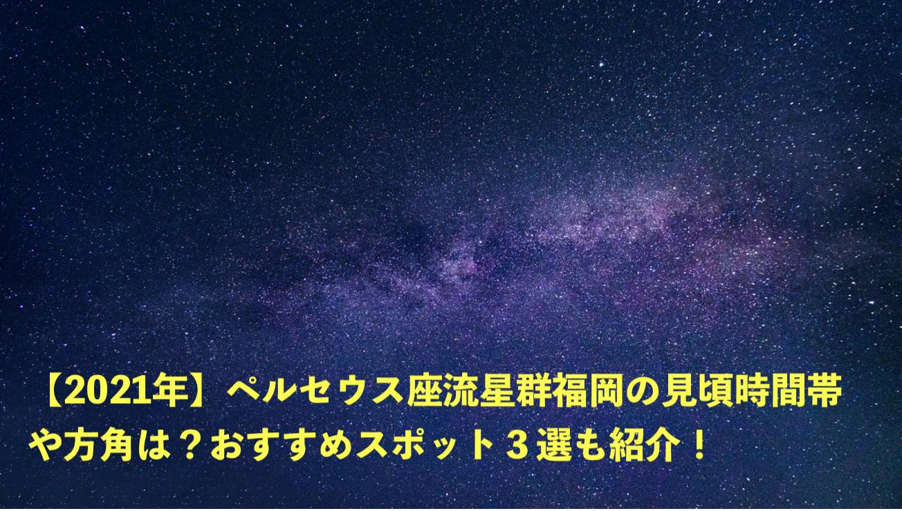 ペルセウス座流星群 2021 福岡 見頃 時間帯 おすすめスポット