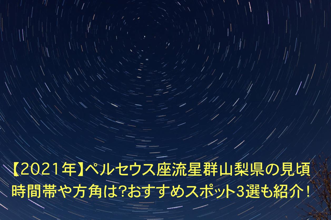 ペルセウス座流星群 山梨 見頃 時間帯 方角 おすすめスポット