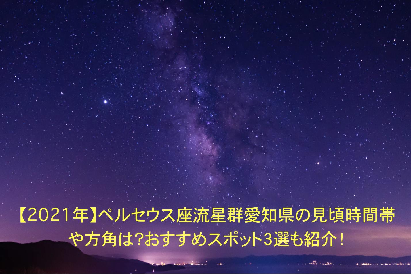 ペルセウス座流星群 愛知県 見頃 時間帯 方角 オススメスポット