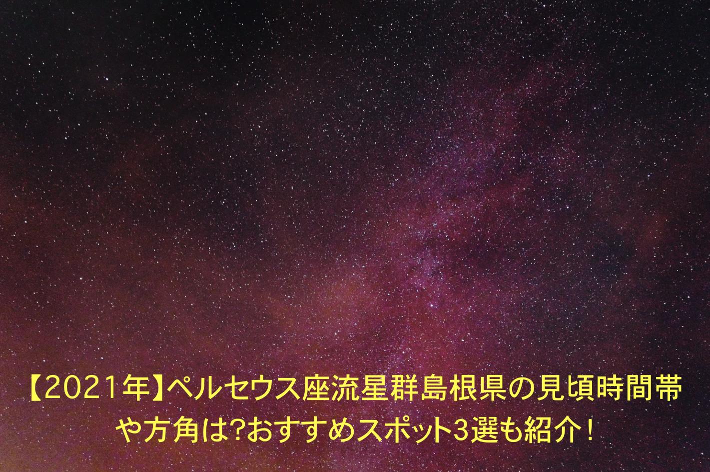 ペルセウス座流星群 島根 見頃時間帯 方角 おすすめスポット