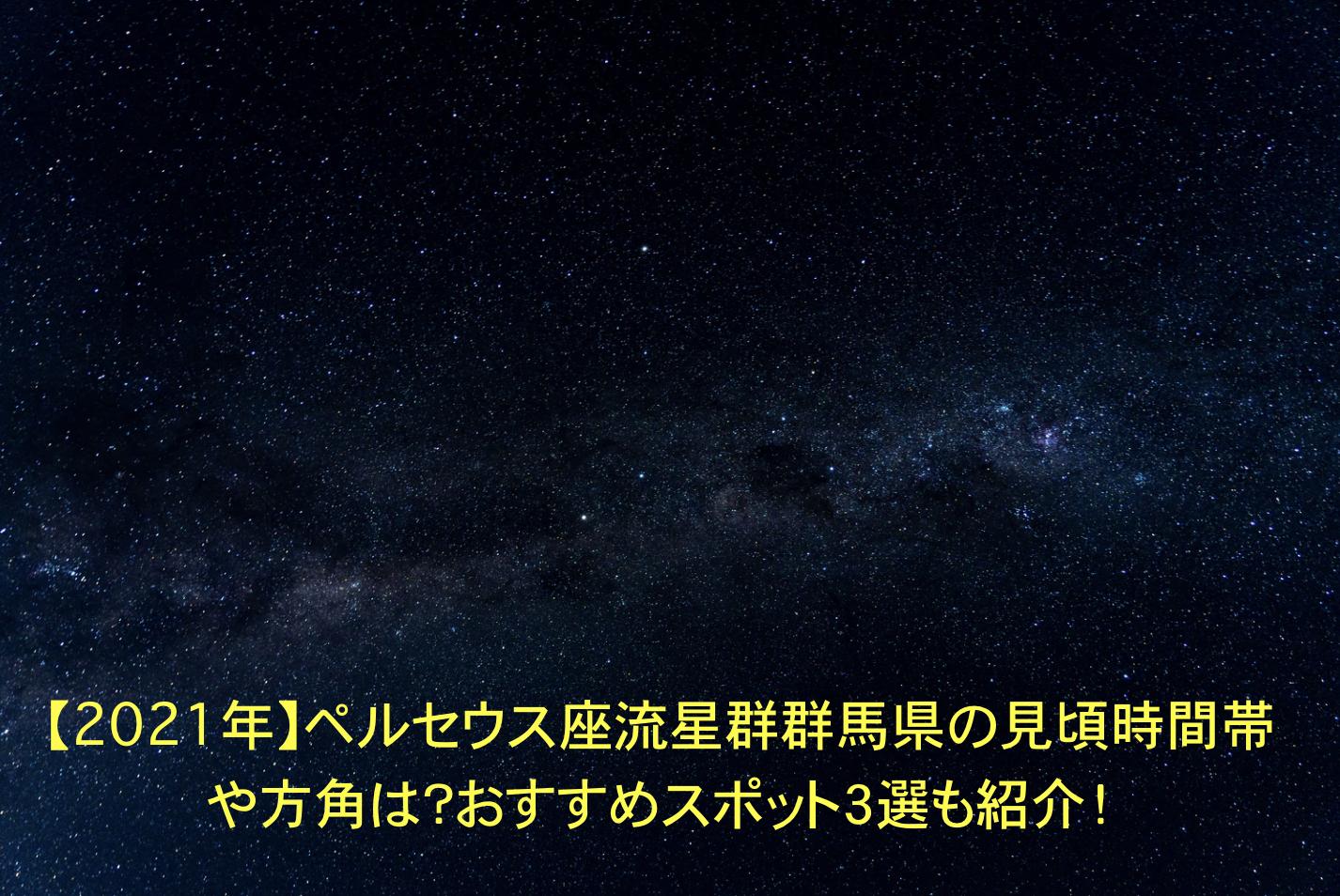ペルセウス座流星群 群馬 見頃時間帯 方角 おすすめスポット