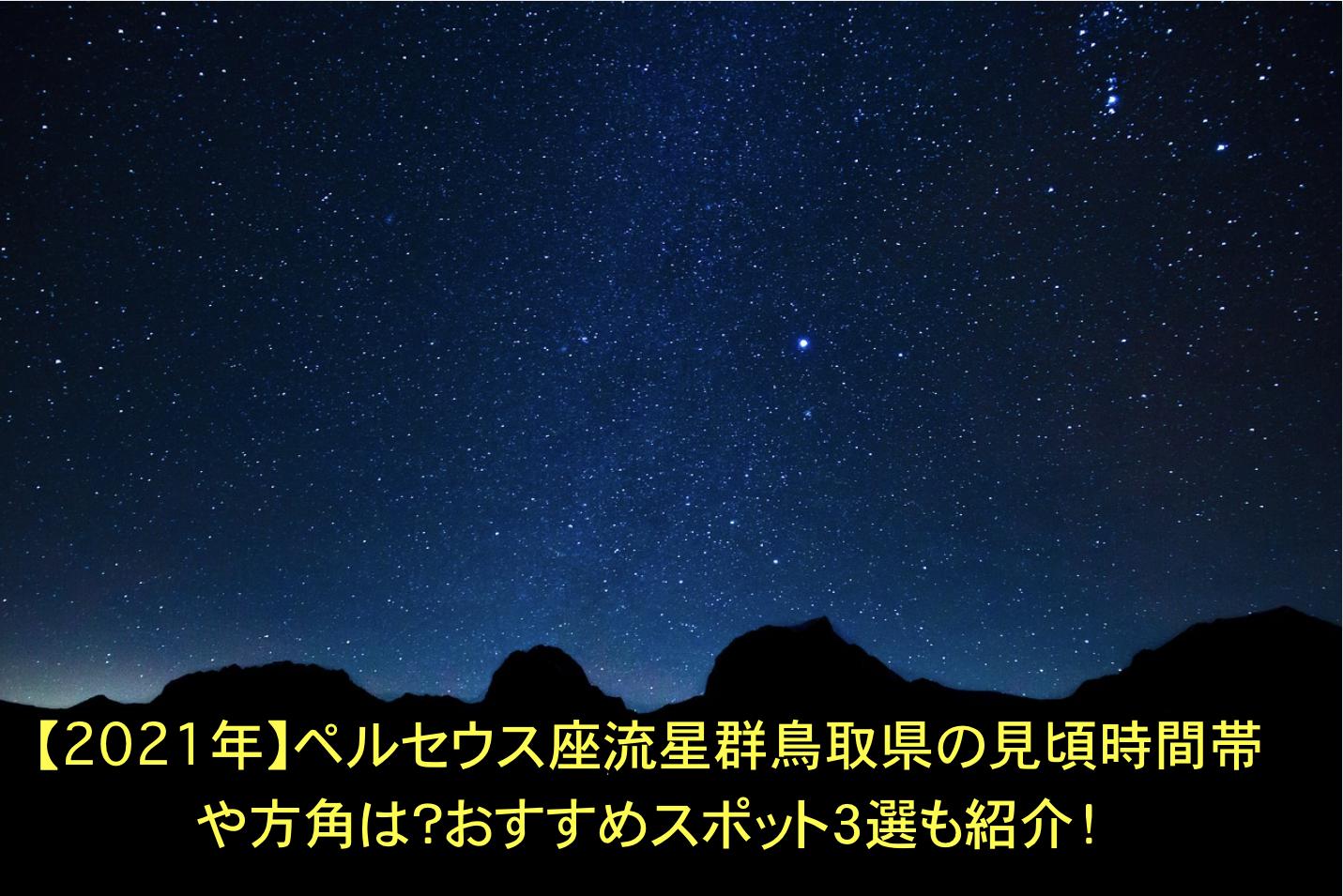 ペルセウス座流星群 鳥取 見頃時間帯 方角 おすすめスポット