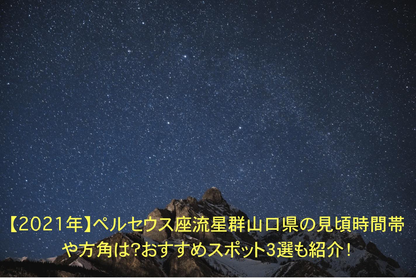 ペルセウス座流星群 山口県 見頃時間帯 方角 おすすめスポット