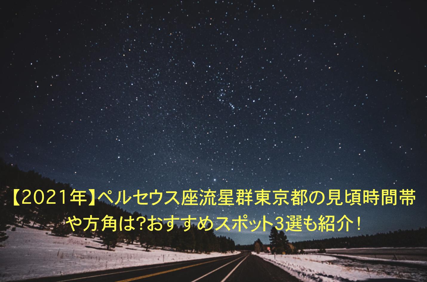 ペルセウス座流星群 東京 見頃時間帯 方角 おすすめスポット