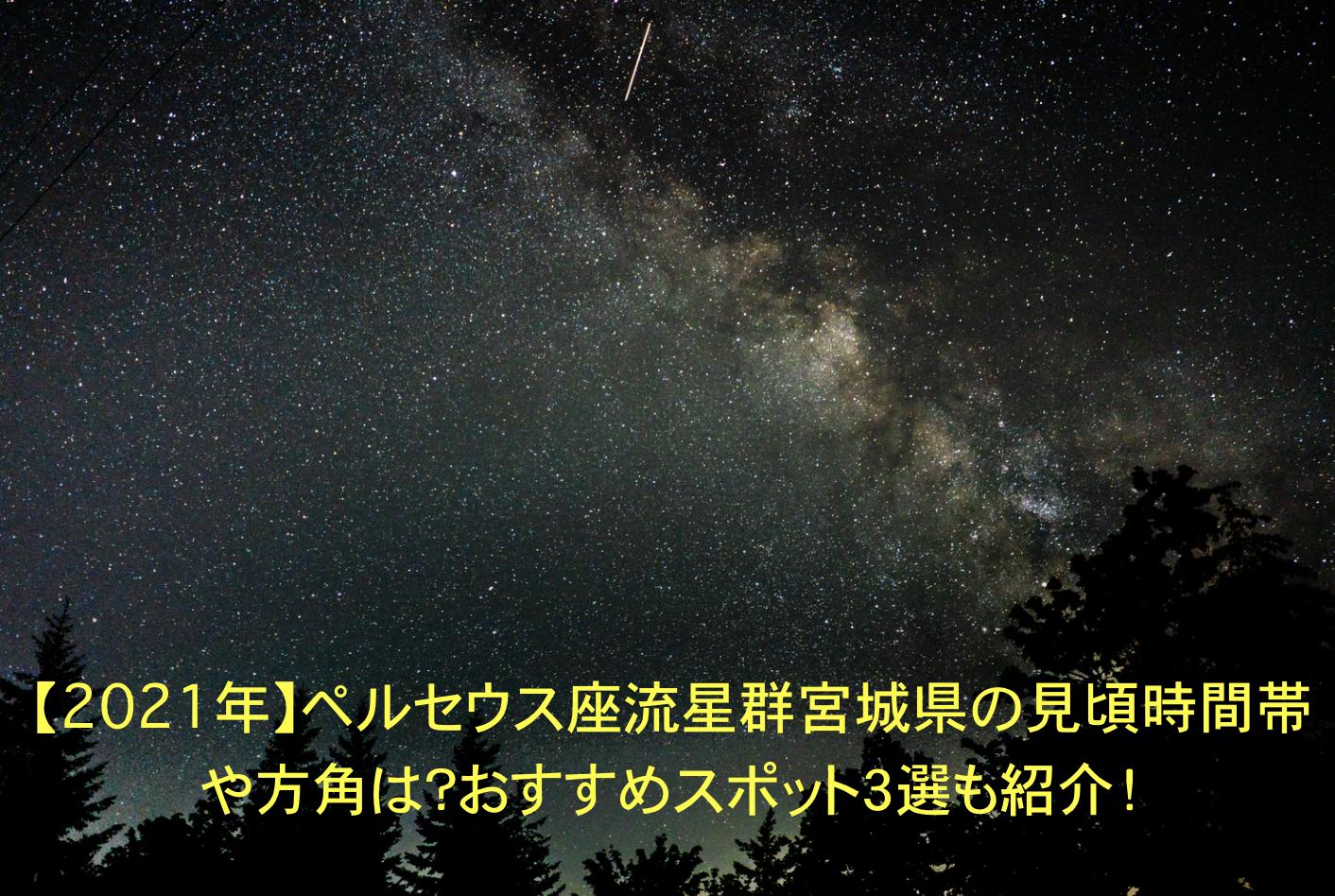 ペルセウス座流星群 宮城 見頃 時間帯 方角 オススメスポット