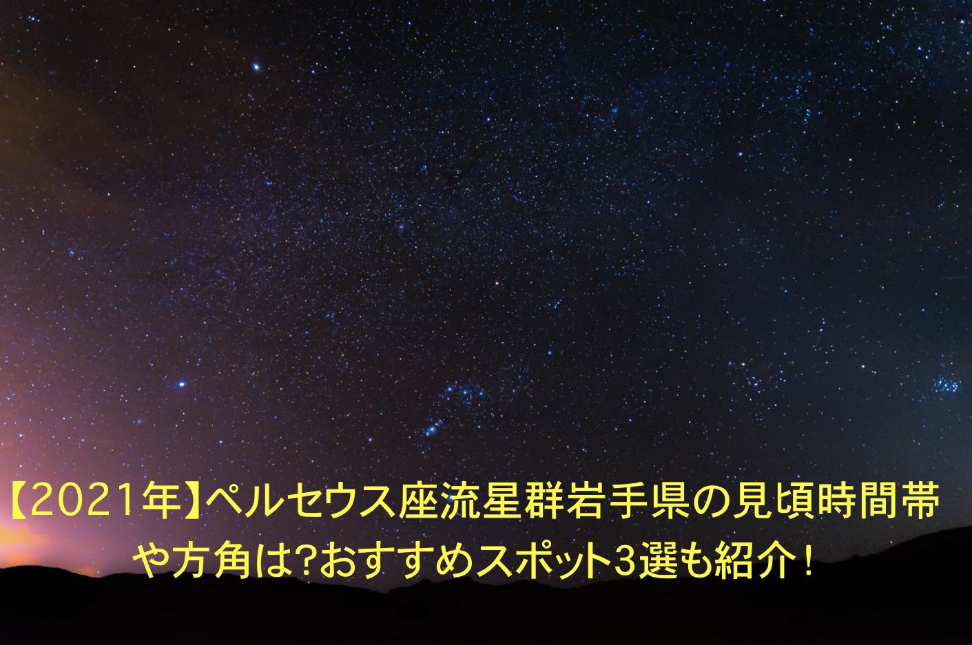 ペルセウス座流星群 岩手 見頃 時間帯 方角 オススメスポット