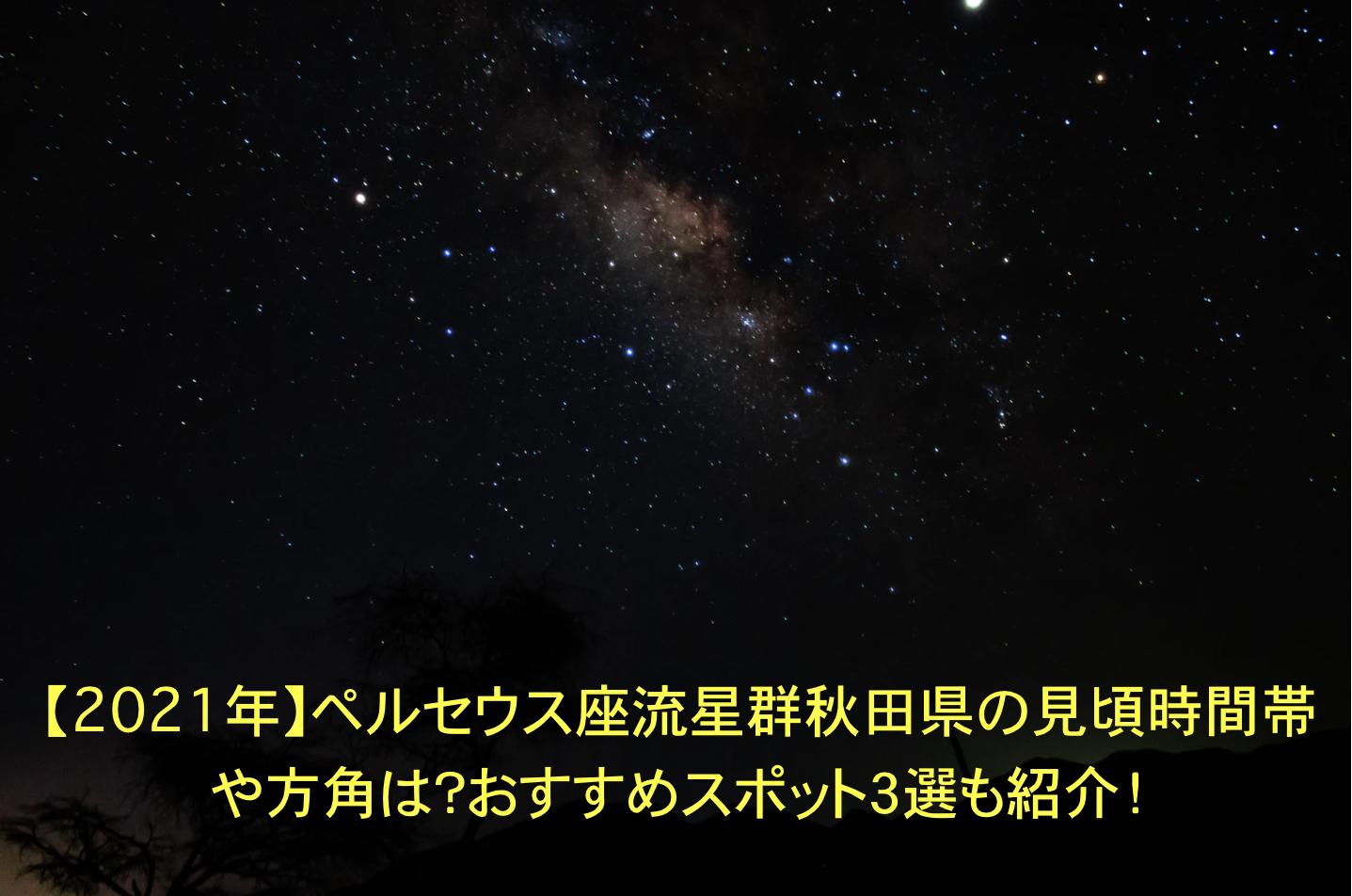 ペルセウス座流星群 秋田 見頃 時間帯 方角 オススメスポット