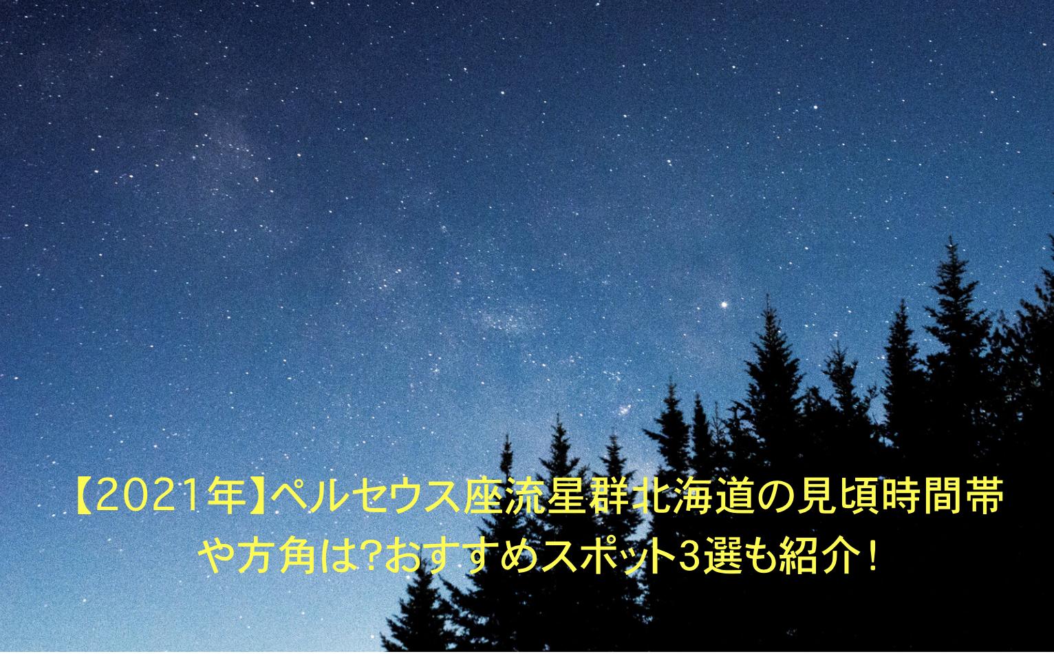 ペルセウス座流星群 北海道 見頃 時間帯 方角 オススメスポット